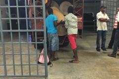 Barrels loaded on bus at Kinam Hotel.